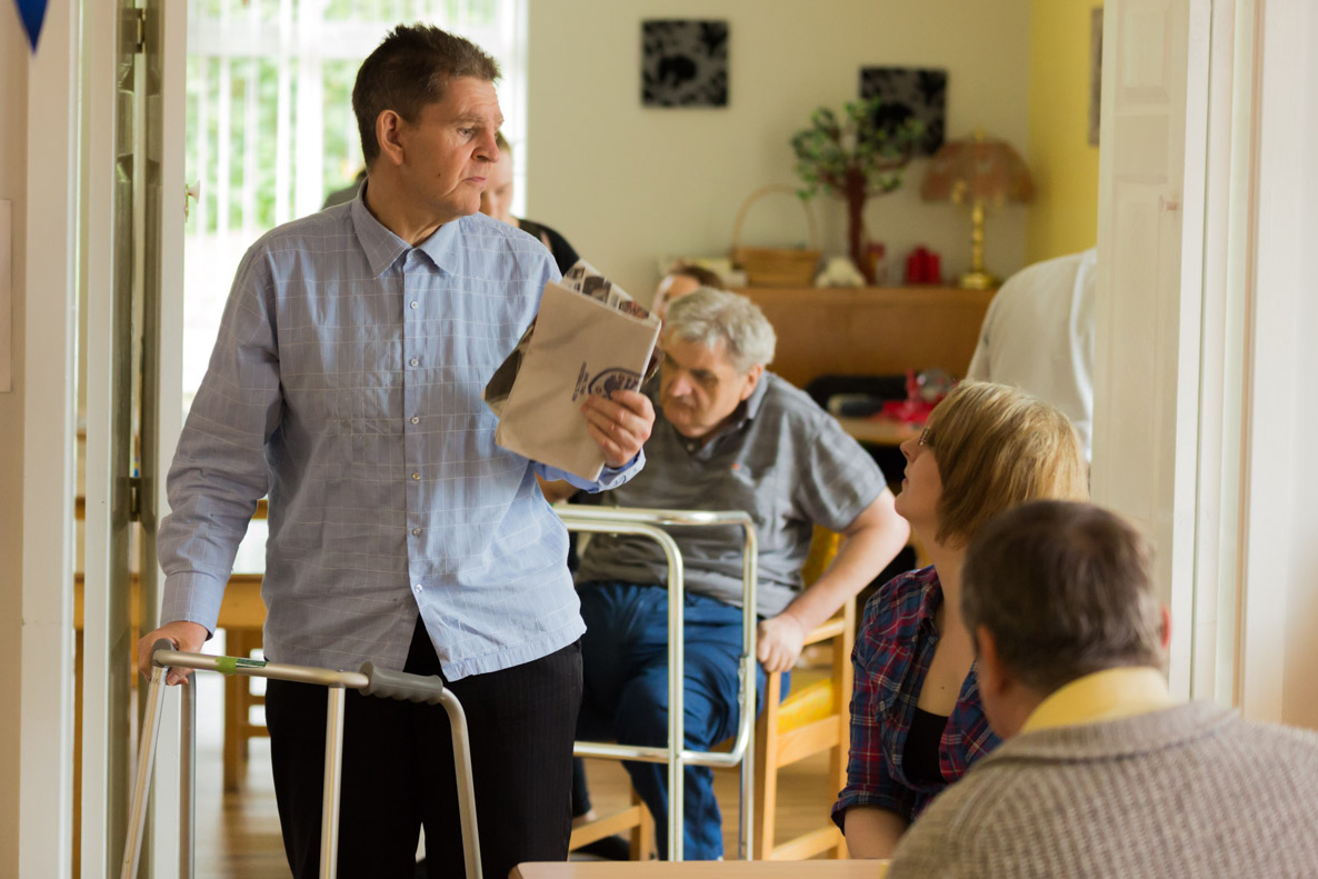 Image of service user in the communal area