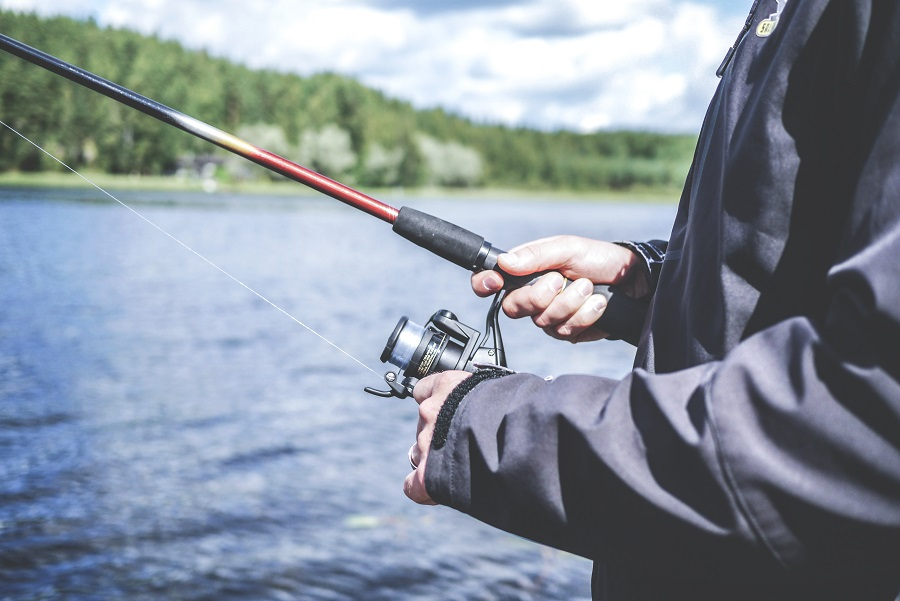 Fishing on lake