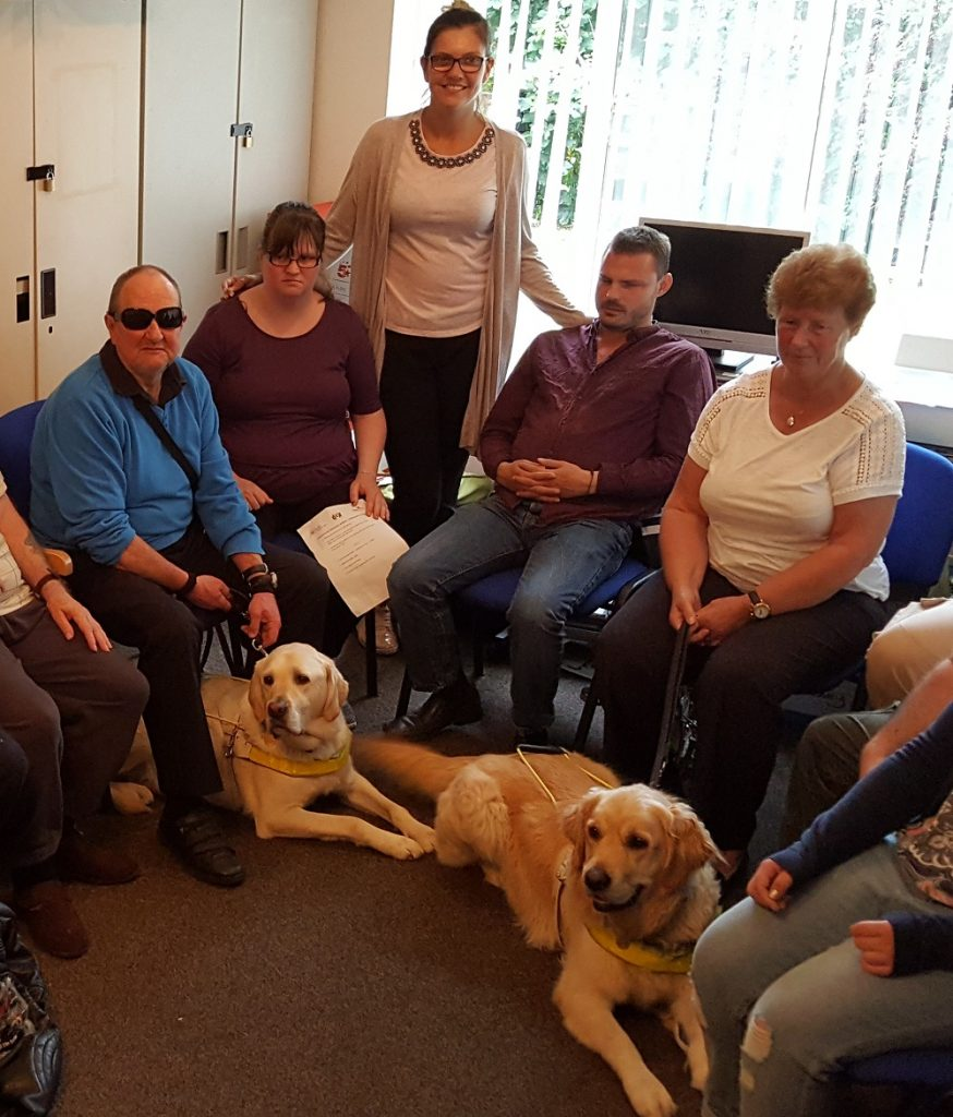 Blind people, guide dogs