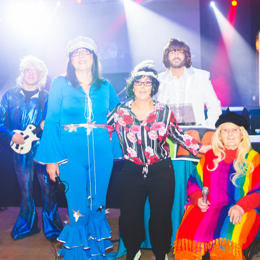 People dressed as ABBA, talent night